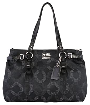 Coach Madison Signature Op Art Carryall Satchel Bag 16366 Black