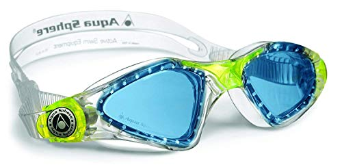 Aqua Sphere Kayenne Junior Swim Goggles with Blue Lens (Clear/Lime). Swimming Goggles for Kids.