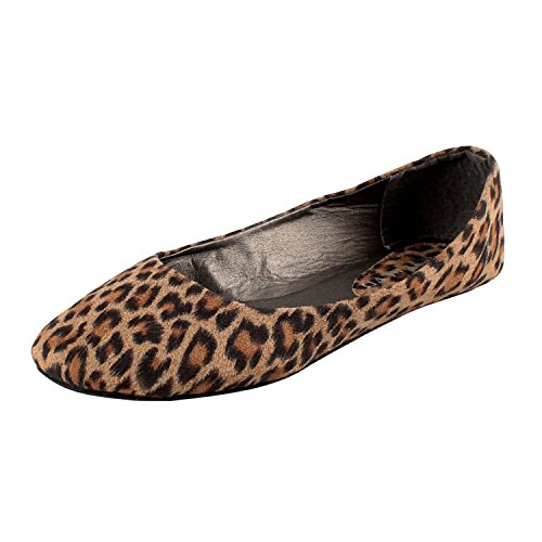West Blvd Womens Ballet Flats Slip On Shoes Ballerina Slippers, Leopard Suede, US 9