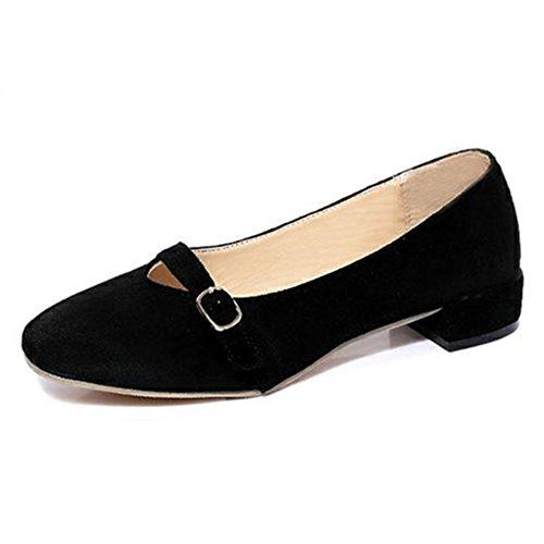 Vintage grueso zapatos de tacón zapatos de Inglaterra en la primavera/zapatos de hebilla de la correa/Luz fija del pie zapatos/Joker redondo zapato cabeza A