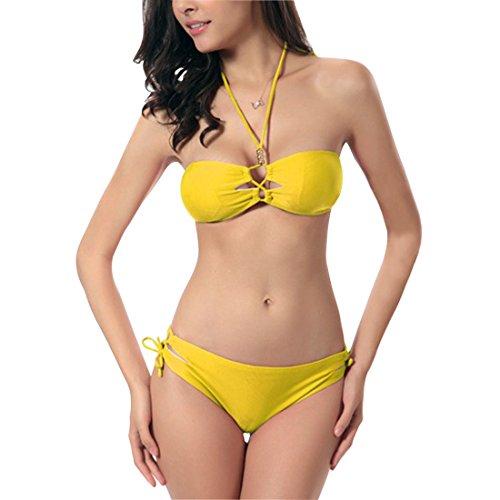 Lerben - Conjunto - cuello hálter - para mujer amarillo