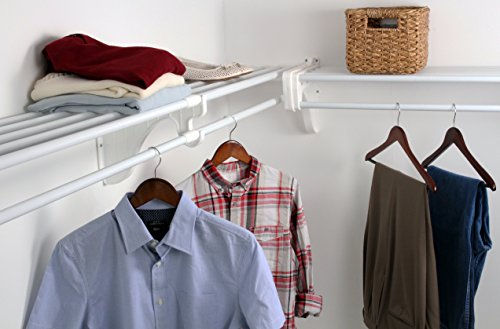 EZ Shelf - DIY Closet Organizer Kit - Expandable to 12.2 ft. of Hanging & Shelf space - White