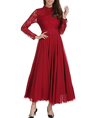 Aox Womens Elegant Long Sleeve Floral Chiffon Lace A Line Long Maxi Party Evening Bridesmaid Swing Dress (3XL,Red)
