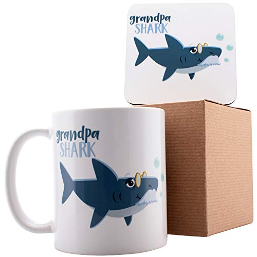 (Personalized Shark Family Grandpa Shark Coffee Mugs - 11oz Ceramic Mugs - Birthday Gifts, Mother