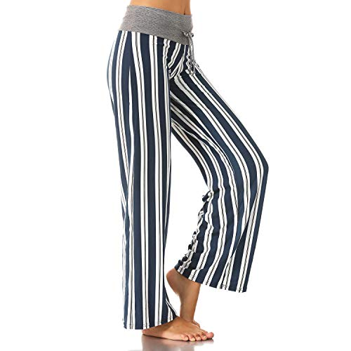 - Buttery Soft Pajama Pants for Women - Floral Print Drawstring Casual Palazzo Lounge Pants Wide Leg for All Seasons (Stripe, Large)