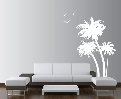 Stencil Palm Trees (Innovative Stencils 1132 84 mwhite mirror Palm Coconut Tree Nursery Wall Decal with Seagull Birds, White)