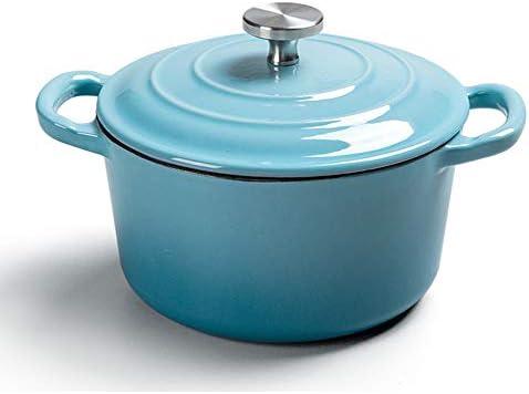 鉄のエナメルスープ鍋ラウンド鍋鍋料理キャスト16 cm厚く両耳多機能鍋非スティック鍋ふた付き,ブルー