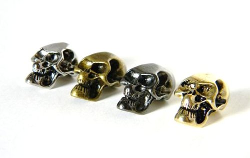 12 Metal Skull Beads (Chrome/Gold/Bronze/Black) For 550 Paracord Bracelets, Lanyards, & Other Projects