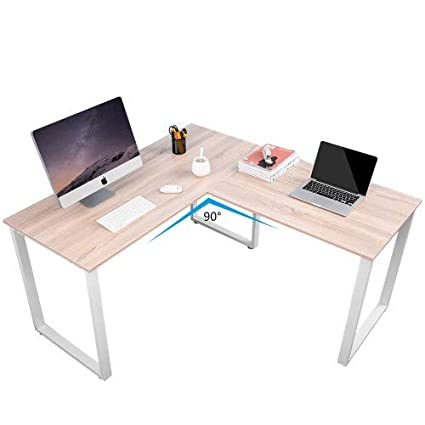 brand new 694c9 dfb89 Amazon.com: L-Shaped Desk Solid Wood Corner Computer Desk 59 ...