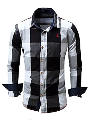 Verdusa Men's Casual Long Roll-up Sleeve Plaid Slim Fit Button Down Dress Shirts