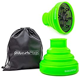 "Collapsible Silicone Hair Diffuser Attachment- SindycurlsMagic Lightweight Portable Travel folding Silicone Diffuser; Fits blow dryers with up to 2""Nozzle- Green - 410VLNV3 sL - Collapsible Silicone Hair Diffuser Attachment- SindycurlsMagic Lightweight Portable Travel folding Silicone Diffuser; Fits blow dryers with up to 2″Nozzle- Green"