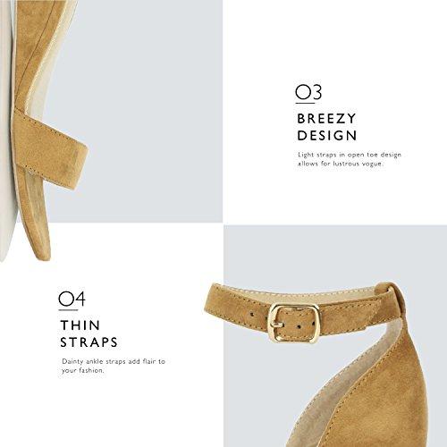 Dailyshoes Kvinna Sommar Modedesign Fotled Spänne Låg Kil Plattform Klack Sandaler Skor Låg Kil Kamel Mocka