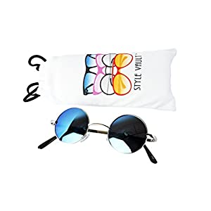 KD3077-vp (2~5 years old) toddler kids round metal sunglasses (S3312V Silver-mirrored blue, UV400)