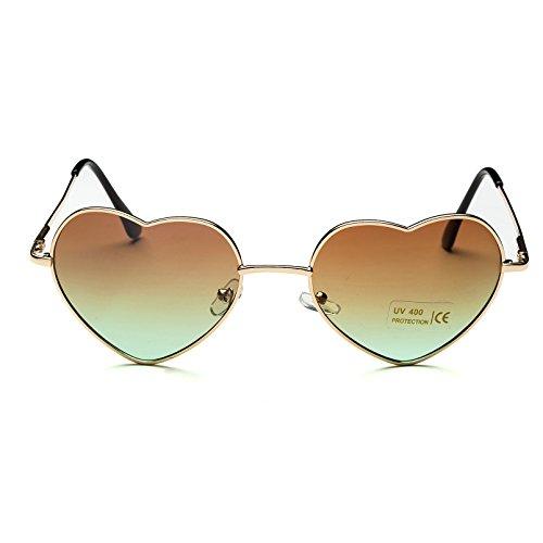 Gradient style femmes coeur Brown de Cadre en Lunettes or mince en soleil Gold de aviateur Lens Frame métal pour forme Dollger p4Tnq6wxPP
