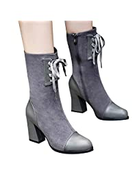 Mikkar Women Boots High Heel Shoes Round Toe Solid Suede Lace-Up