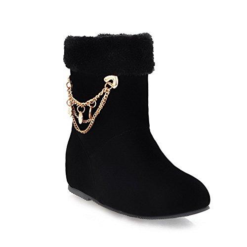 AmoonyFashion PU Closed Solid Metalornament Heels Round with Toe Boots M Frost Womens Black Low US PU B 5 r18qBrwx