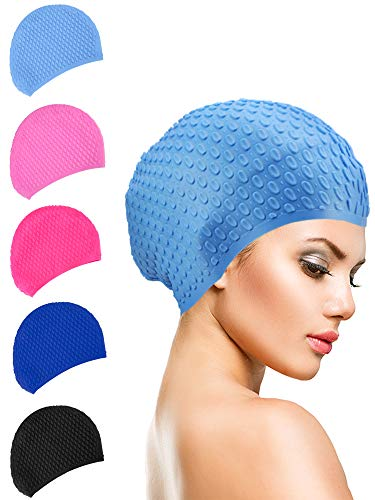 Geyoga Long Hair Swim Cap Silicone Waterproof Swimming Cap for Adults Kids Women Men, Keeps Hair Clean Ear Dry (Color 1)