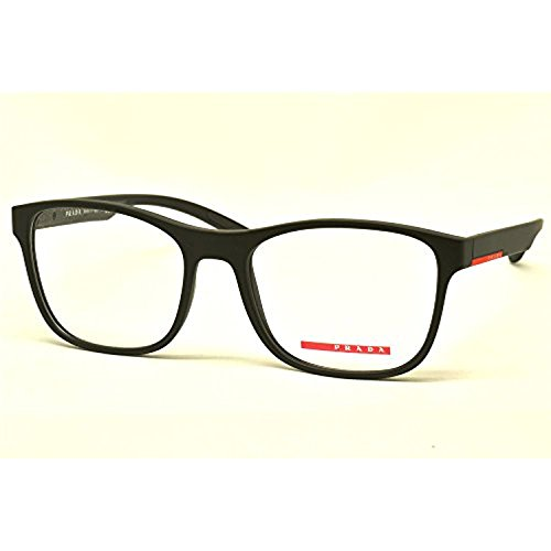 Prada Linea Rossa Men's PS 08GV Eyeglasses Black Rubber 54mm & Cleaning Kit Bundle (Prada 54mm)