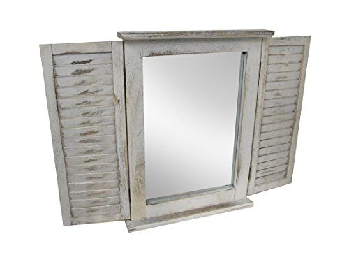 (Zeckos Distressed Finish White Wooden Shutter Wall Mirror)