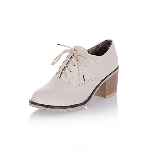 Lucksender Womens Fashion Chunky Heel Ankle Oxfords Shoes Beige 2XcbqEp