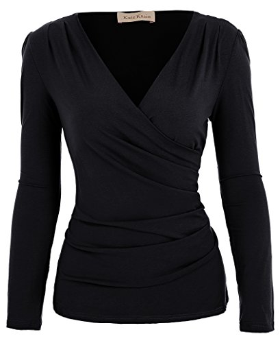 Wrap Design T-shirt - Women's Cross-Front Pullover T-Shirt Blouse (M,Black)