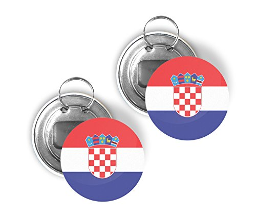 - Country of Croatia Two Pack of Flag Beer Bottle Opener Keychain Buttons 2.25-inch Round Croatian