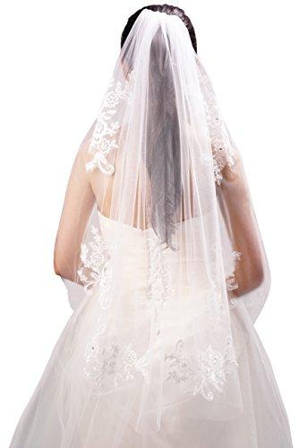 Beautiful One Tier (Deceny CB Wedding Veil Lace White Bridal Veil with Rhinestones 1)