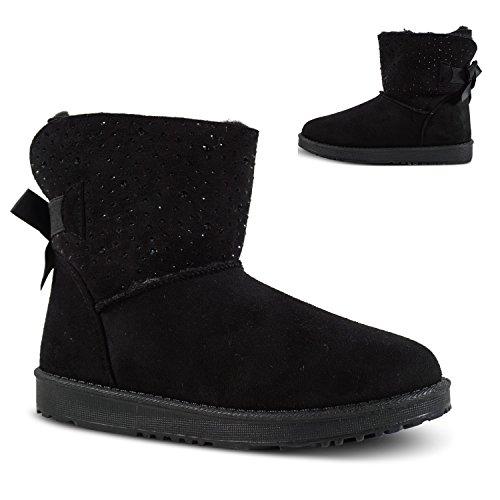 Damen Schlupfstiefel Winter Boots Stiefeletten Schnee Outdoor Stiefel gefüttert ST905 Schwarz