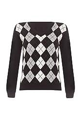 Ladies Cashmere Argyle V Neck Sweater Black L