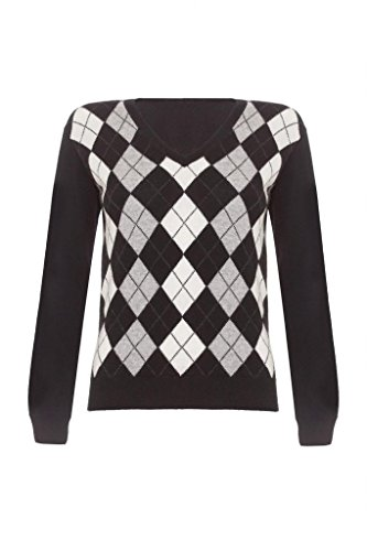 Ladies Cashmere Argyle V Neck Sweater, Black, M Cashmere Argyle Sweater