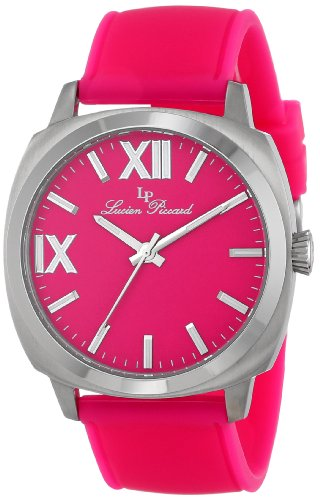Lucien Piccard Women's LP-20032-015-PN St. Tropez Stainless Steel Watch with Pink Silicone Band