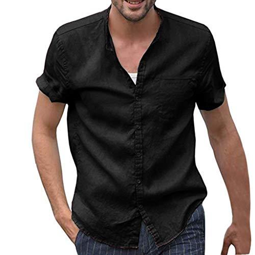 POHOK Men Retro Shirt Men's Casual Solid Color Loose Button Cotton and Linen Shirt Top (2XL,Black)