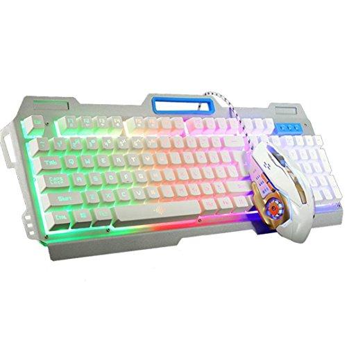Price comparison product image Dreamyth K38 104Keys LED Backlit Usb Ergonomic Gaming Keyboard + 3200dpi Gamer Mouse New Gift (White)