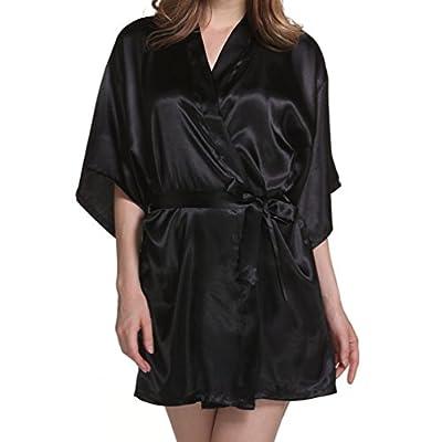 ENJOYNIGHT Women's Kimono Robe Satin Bridesmaids Lingerie Sleepwear Short Style