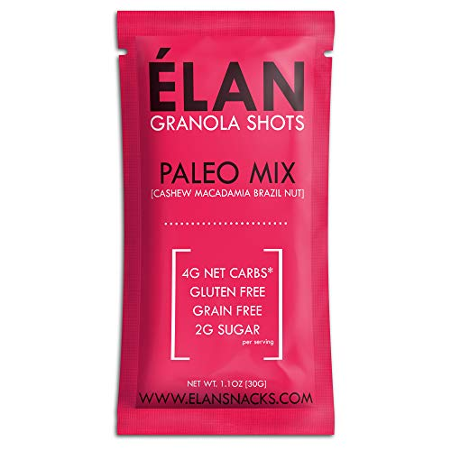 ELAN Low Carb Paleo Granola, Keto Snack Pack To Go - Gluten Free Grain Free Cereal - Healthy Single Serve Breakfast Bar Alternative (Cashew, Macadamia Nuts, Brazil Nut, 12 Pack)