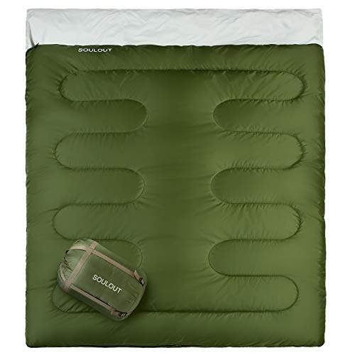 Sleeping Bag - 4 Seasons Warm Cold Weather Lightweight, Portable, Waterproof Sleeping Bag with Compression Sack for Adults & Kids - Indoor & Outdoor: Camping, Backpacking, Hiking (Army Green/ Double)