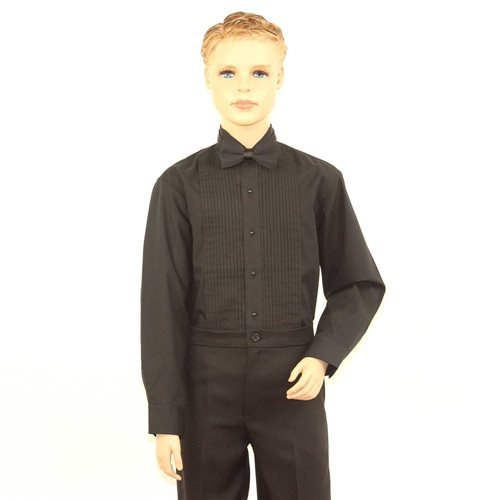 SixStarUniforms Boys Black Tuxedo Shirt with Wing Tip Collar - Medium/Neck(12-12.5) by SixStarUniforms