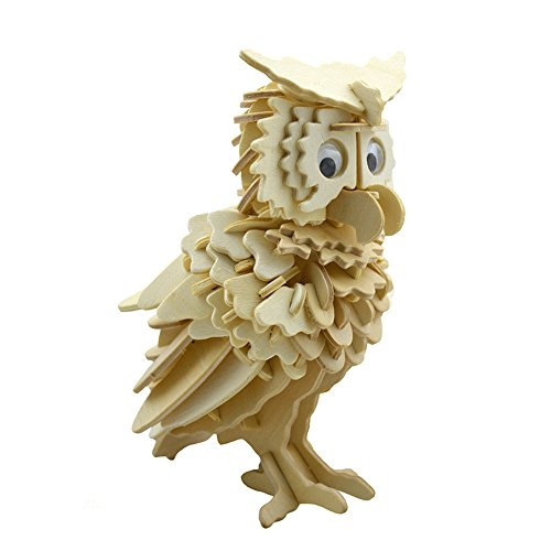 Smilelove 3D DIY Wooden Puzzle Animal Owl Jigsaw Puzzle Wood Blocks for Kids Best Kids Toy Gift Wooden Puzzle Toys Fun Mind Teaser