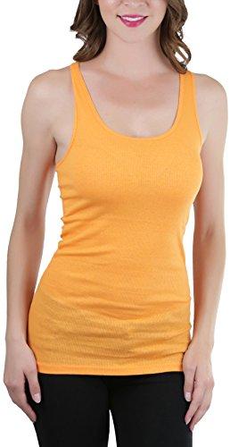 ToBeInStyle Women's Ribbed Fabric Racerback Tank Top - Light Orange - (Orange Ribbed)