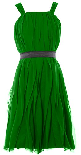 MACloth Women Short Bridesmaid Dress Straps Chiffon Cocktail Party Formal Gown Verde
