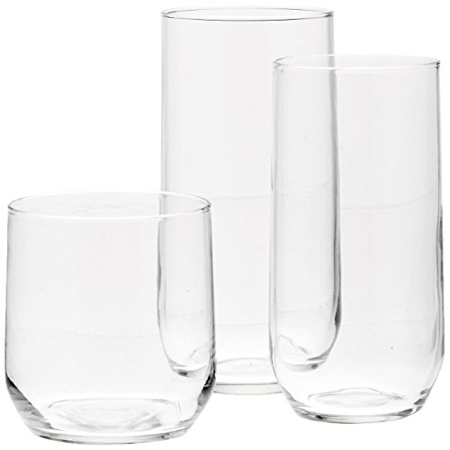AmazonBasics 18-Piece Clear Glassware Set