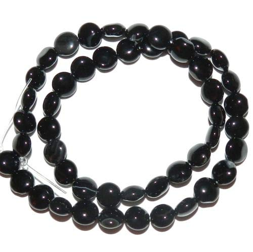 (NG1497 Black Agate 8mm Flat Puffed Round Coin Gemstone Beads 15'' Crafting Key Chain Bracelet Necklace Jewelry Accessories Pendants)