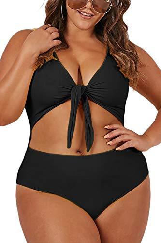 ioiom Women Plus Size One Piece Swimsuit Tie Knot Front Cutout High Cut Bathing Suits