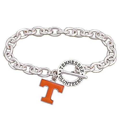 Sports Accessory Store Tennessee Volunteers Team Name Silver Toggle Orange Charm Bracelet Jewelry UT - Enamel Tennessee Volunteers Charm