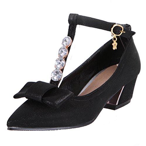 AIYOUMEI Damen T-spangen Satin Spitz Chunky Heel Knöchelriemchen Pumps mit 5cm Absatz und Schleife Kleinem Absatz Süß Schuhe Schwarz