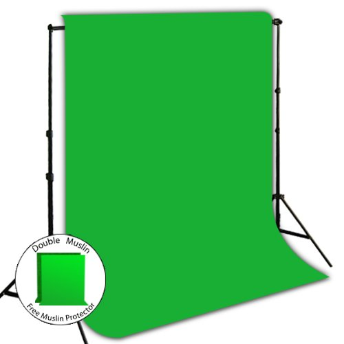 Muslin Key Background Chroma (LimoStudio 10' x 8.5' Photo Background Stand Support System Kit + 10' x 10' Green Chroma Key Muslin Background)