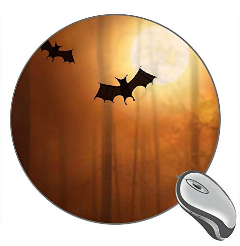 Halloween Night Moon Bats 10859 Background Desktop Rubber Non-Slip Gaming Round Mouse Pad Mouse Mat Mousepad -