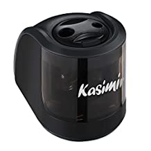 Electric Pencil Sharpener for Sharpening Pencils Kasimir Mechanical Portable Batter Auto Compact and Durable Sharpeners with 2 Holes and 2 Spare Blades for Kids Artists in School Classroom Office Home-Black