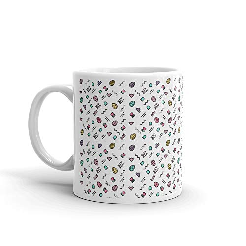 Geometric Cheerful Pattern With Easter Eggs And Rabbit