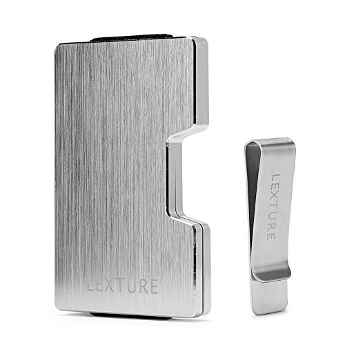 (Aluminum Wallet RFID Credit Card Holder Wallet with Detachable Metal Money Clip (Brushed Silver))